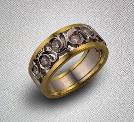 Bague or joune et or blanc ajourée sertie de diaments